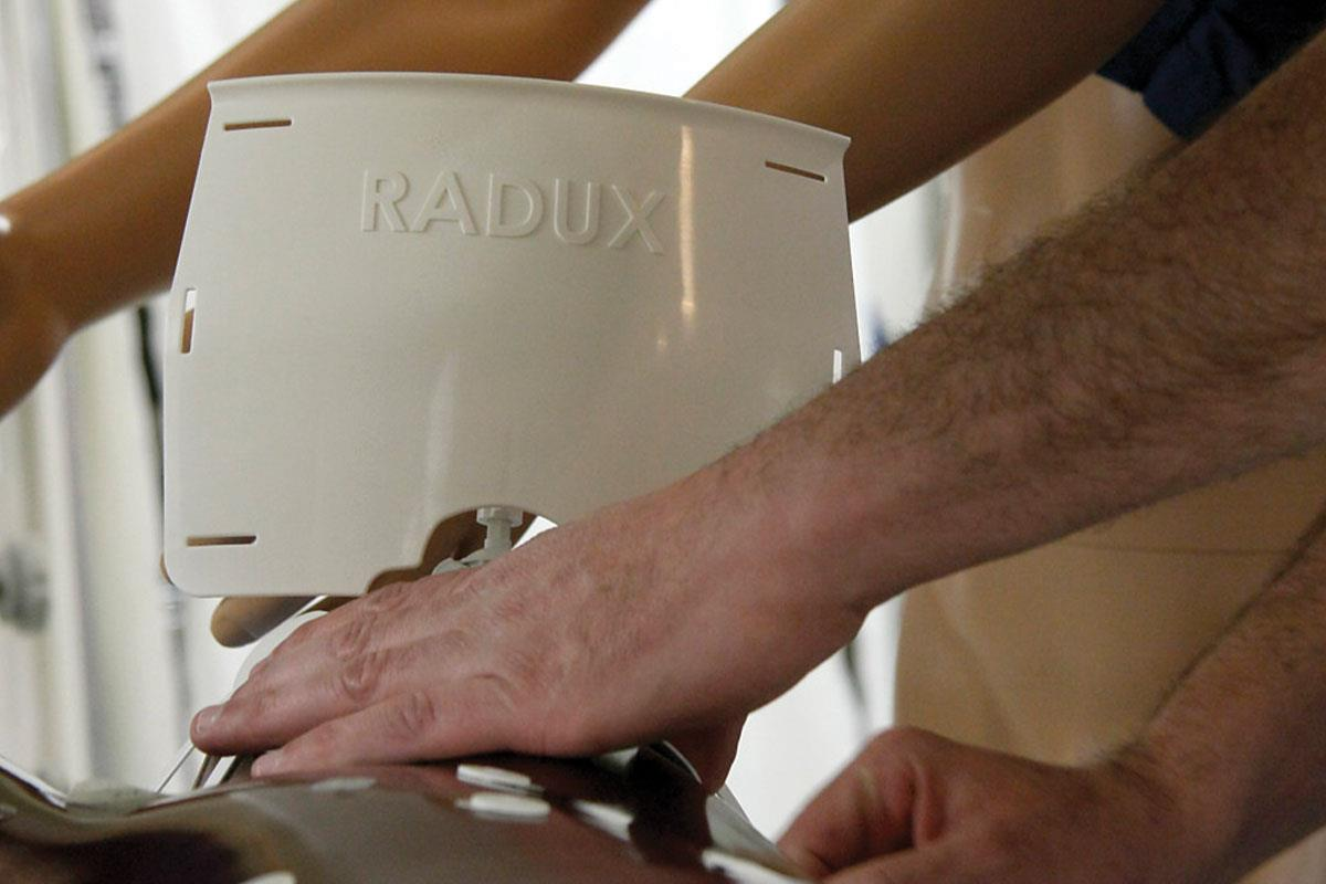 Greg Gordon, MD, founded Radux Devices around two inventions he created—including the Steradian Shield, above—that help protect physicians during fluoroscopic procedures.